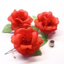 Pack of 3 Vintage Red Fabric Roses